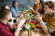 canvas print picture - Dinner conversation