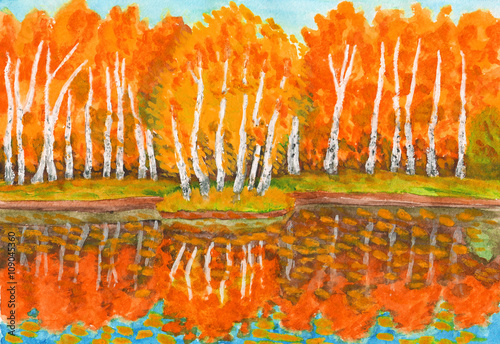Autumn, birch forest and little island with birches, painting - 109045360