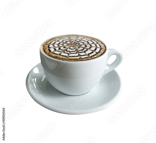 Fotografie, Obraz  cup of mocha coffee with foam isolated on white