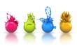 canvas print picture - Vier farbenfrohe Kugeln in Magenta, Grün, Blau und Orange mit F