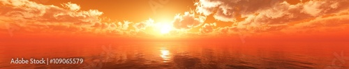 Door stickers Orange Glow Panorama of sea sunset, sunrise. Baner.