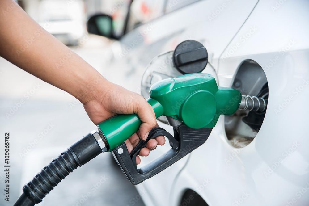 Fotografie, Obraz  Handle fuel nozzle to refuel the car.
