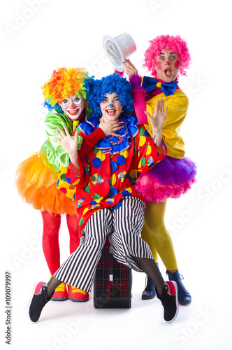 Fotografía  Three colorful funny clown on a white background
