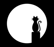 Cat Sitting On Chimney And Looks At The Moon. Vector Black And White Illustration.
