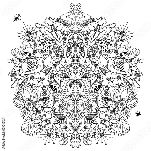 Vector illustration zentangl, flowers circle symmetry, dudling. Mushrooms, snail, butterfly. Coloring for adult anti-stress. Black and white. Adult coloring books.