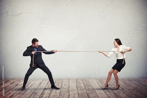 Fotografie, Obraz  Businessman and businesswoman playing tug of war