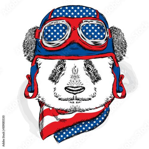 In de dag Art Studio Funny panda wearing a helmet. Vector illustration.