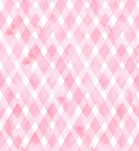 Diagonal Gingham Of Pink Colors On White Background. Watercolor Seamless Pattern For Fabric