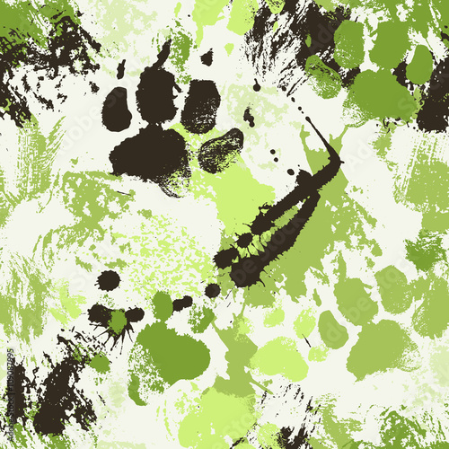 Vector seamless pattern with ink spatters and paw footprints of a dog