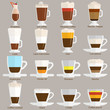 Coffee cups different cafe drinks types espresso mug with foam beverage breakfast morning sign vector.