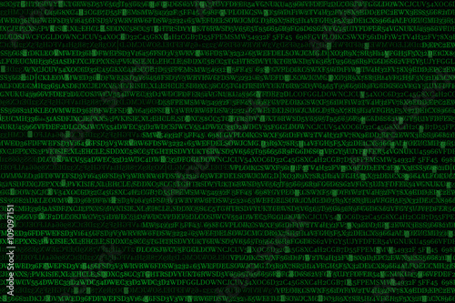 The green alphanumeric code background. Wallpaper Mural