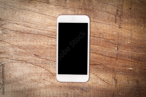 Mobile Phone On Wooden Table Background Buy This Stock Photo And