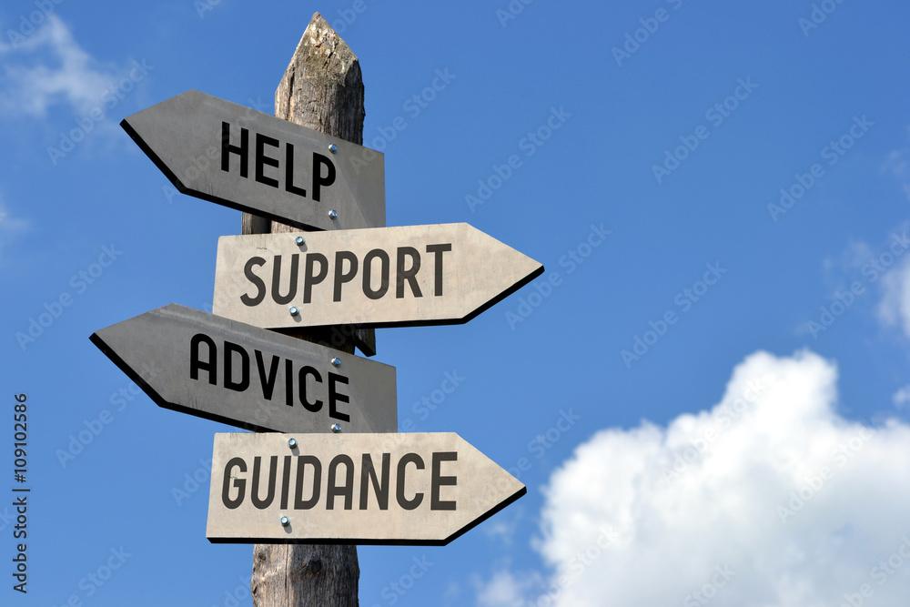 Fototapeta Help, support, advice, guidance signpost.