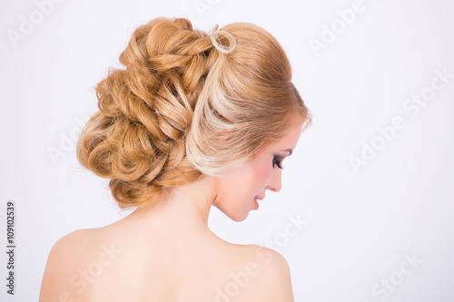 Fotobehang Kapsalon Bridal fancy hairstyle