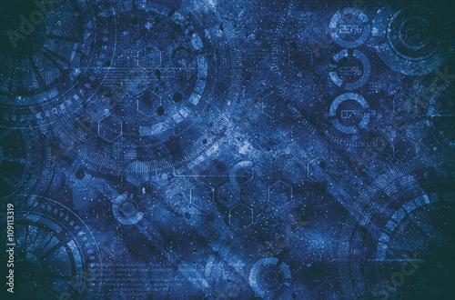 Steampunk grunge background, steam punk elements on dirty back Canvas Print