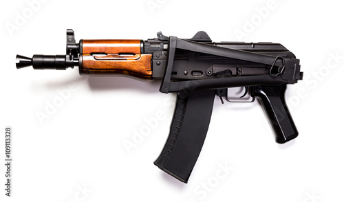 Rare first model AK - 47 assault rifle isolated on white Wallpaper Mural