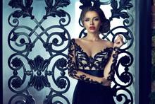 Sexy Woman Wearing Black Lace Evening Dress