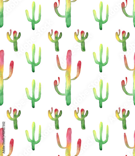 Cotton fabric Watercolor cactus seamless pattern. Colorful vibrant cactus succulents