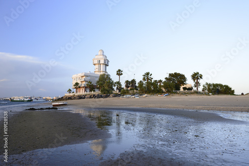 building lighthhouse in Isla Cristina, Huelva, Spain in front Punta del Moral village, near beaches of Ayamonte