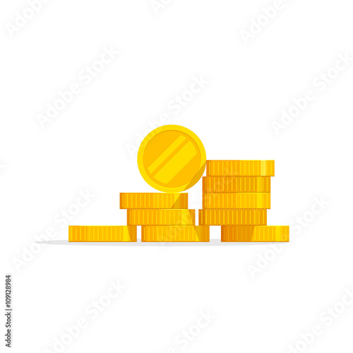 Fototapeta Coins stack vector illustration, coins icon flat, coins pile, coins money, one golden coin standing on stacked gold coins modern design isolated on white background obraz