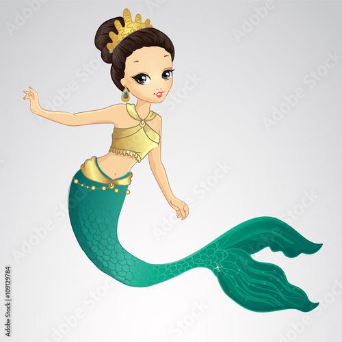 Wall Murals Mermaid Brunette Mermaid With Gold Crown