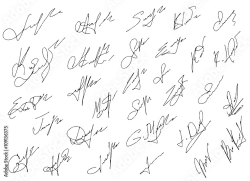 Photo Signatures set, vector illustration,hand drawn.
