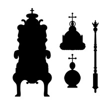 A Scepter, Power, Crown And Throne.