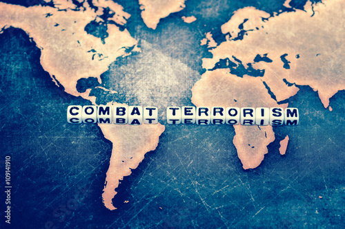 COMBAT TERRORISM on cubes Wallpaper Mural