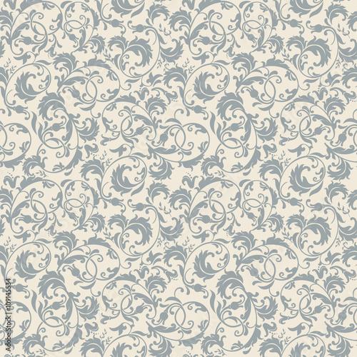 Obraz seamless victorian pattern in blue, grey and beige - fototapety do salonu