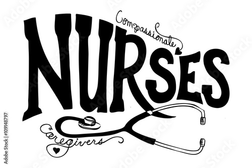 Fototapeta nurses typography and stethoscope vector, national nurses day