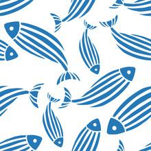 Seamless Fish Pattern.White Background. Vector Illustration.