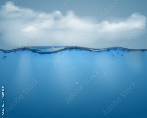 Fotografía  Underwater part and clouds.vector illustration