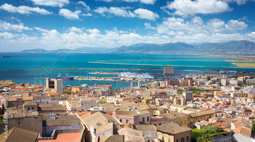 Photo  Aerial view of Cagliari with the harbor in distance