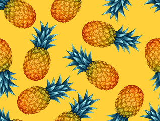 Plakat Seamless pattern with pineapples. Tropical abstract background in retro style. Easy to use for backdrop, textile, wrapping paper, wall posters