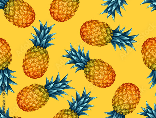 Seamless pattern with pineapples. Tropical abstract background in retro style. Easy to use for backdrop, textile, wrapping paper, wall posters - 109159999