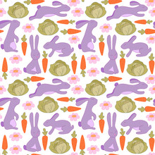 Seamless Pattern With Bunnies,...