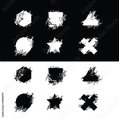 Photo sur Toile Papillons dans Grunge Vector grunge shapes set for print and design. Dirty geometric s