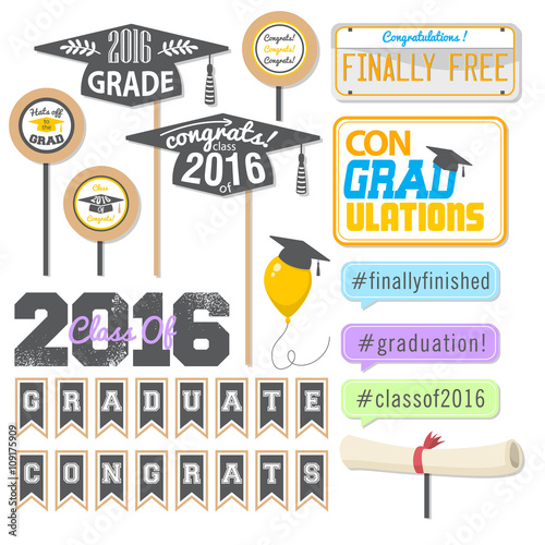 Photo  Set of cards and thing for Graduation 2016 / include fun clip-arts for Grade