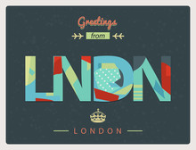 Greetings From London / Lettering In Modern Cutout Applique Style