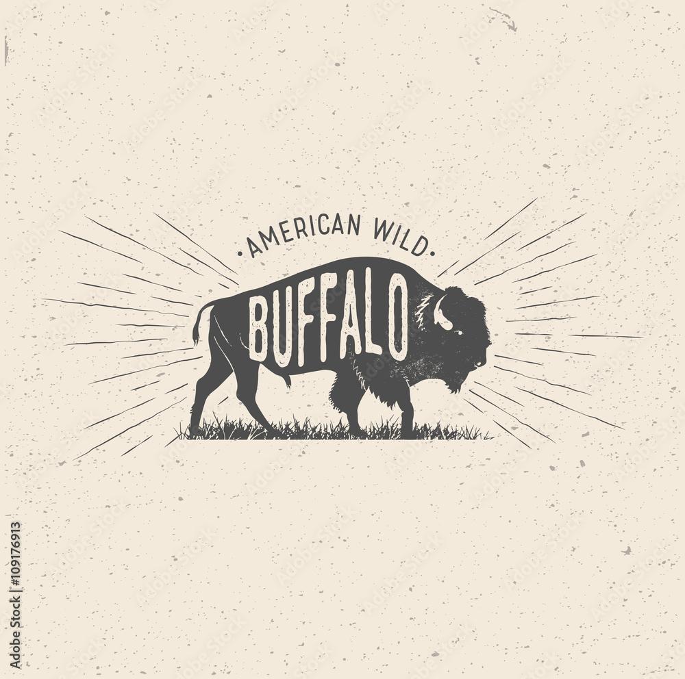 Fototapeta Wild Buffalo. Vintage styled vector illustration of the american buffalo.