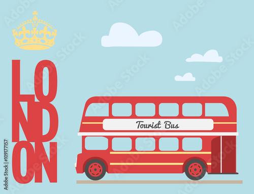 Double decker bus cartoon from England / British tourist symbol / Canvas-taulu