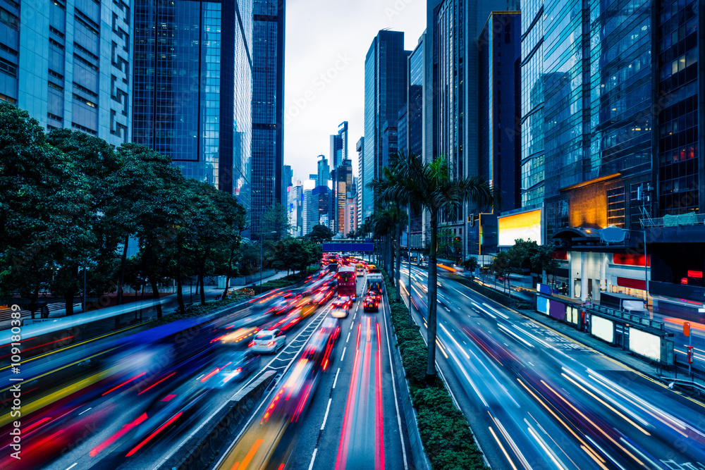 Fototapety, obrazy: crowded traffic in the downtown district,hongkong china.