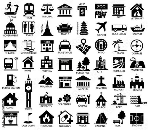 map symbol icon set Wall mural