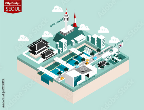 beautiful isometric style design concept of seoul city, south korea ,capital of Poster