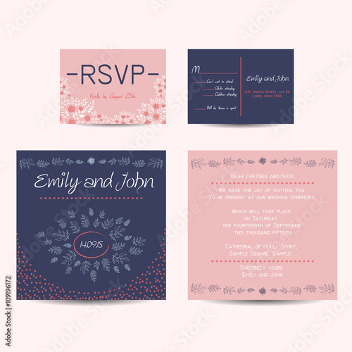 wedding set with invitation and rsvp cards buy this stock vector