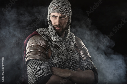 Photo  Medieval Warrior with chain mail armour