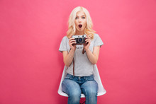 Cute Woman Holding Photo Camera