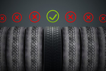 New Car Tire With Green Check ...