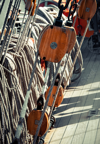 Rigging ropes and pulley at the old ship Canvas Print