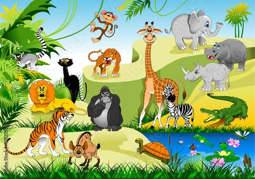 Tuinposter Dinosaurs funny jungle